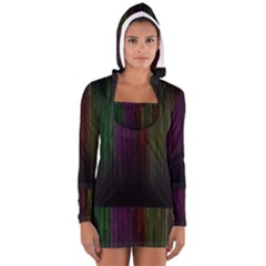 Line Rain Rainbow Light Stripes Lines Flow Long Sleeve Hooded T Shirt by Mariart