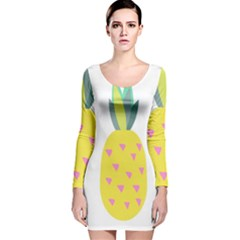 Pineapple Fruite Yellow Triangle Pink Long Sleeve Velvet Bodycon Dress by Mariart
