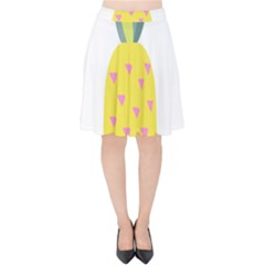 Pineapple Fruite Yellow Triangle Pink Velvet High Waist Skirt by Mariart
