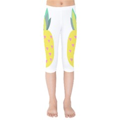 Pineapple Fruite Yellow Triangle Pink Kids  Capri Leggings  by Mariart