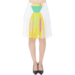 Pineapple Fruite Yellow Triangle Pink White Velvet High Waist Skirt by Mariart