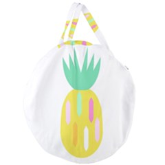 Pineapple Fruite Yellow Triangle Pink White Giant Round Zipper Tote by Mariart