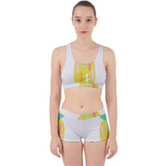 Pineapple Fruite Yellow Triangle Pink White Work It Out Sports Bra Set by Mariart