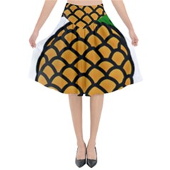 Pineapple Fruite Yellow Green Orange Flared Midi Skirt