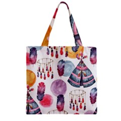 Boho Tribal Watercolor White Pattern Zipper Grocery Tote Bag by paulaoliveiradesign