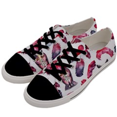 Boho Owl And Feather White Pattern Men s Low Top Canvas Sneakers by paulaoliveiradesign