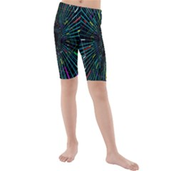 Colorful Geometric Electrical Line Block Grid Zooming Movement Kids  Mid Length Swim Shorts by Mariart