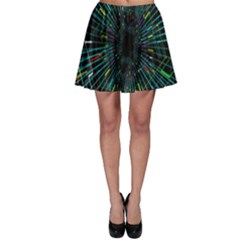 Colorful Geometric Electrical Line Block Grid Zooming Movement Skater Skirt