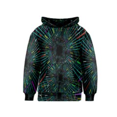 Colorful Geometric Electrical Line Block Grid Zooming Movement Kids  Pullover Hoodie by Mariart