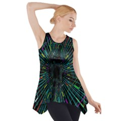 Colorful Geometric Electrical Line Block Grid Zooming Movement Side Drop Tank Tunic