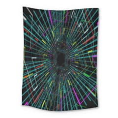 Colorful Geometric Electrical Line Block Grid Zooming Movement Medium Tapestry by Mariart