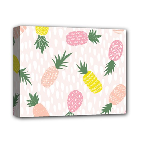 Pineapple Rainbow Fruite Pink Yellow Green Polka Dots Deluxe Canvas 14  X 11  by Mariart