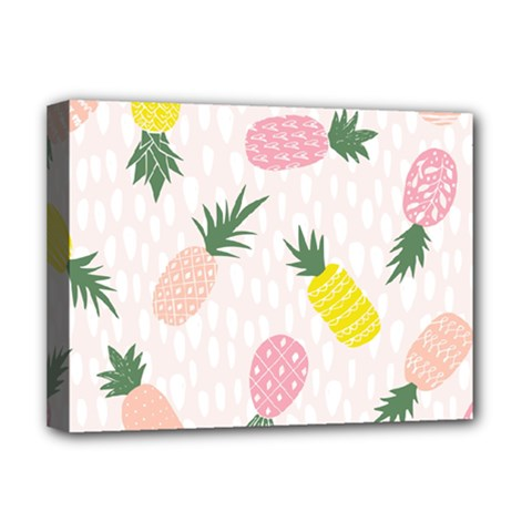 Pineapple Rainbow Fruite Pink Yellow Green Polka Dots Deluxe Canvas 16  X 12   by Mariart