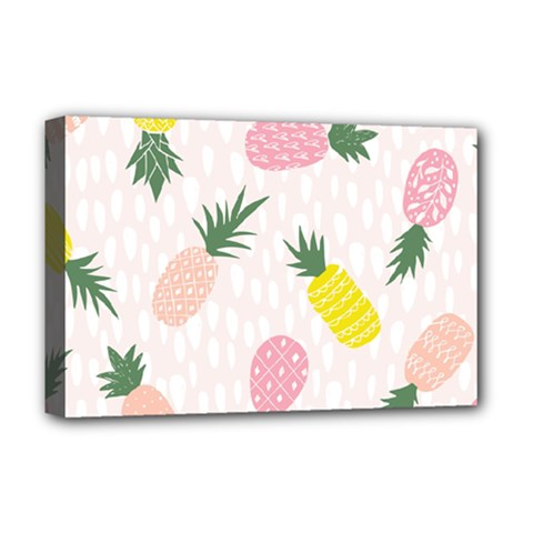 Pineapple Rainbow Fruite Pink Yellow Green Polka Dots Deluxe Canvas 18  X 12   by Mariart