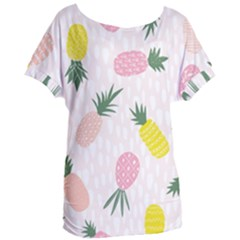 Pineapple Rainbow Fruite Pink Yellow Green Polka Dots Women s Oversized Tee by Mariart