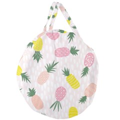 Pineapple Rainbow Fruite Pink Yellow Green Polka Dots Giant Round Zipper Tote
