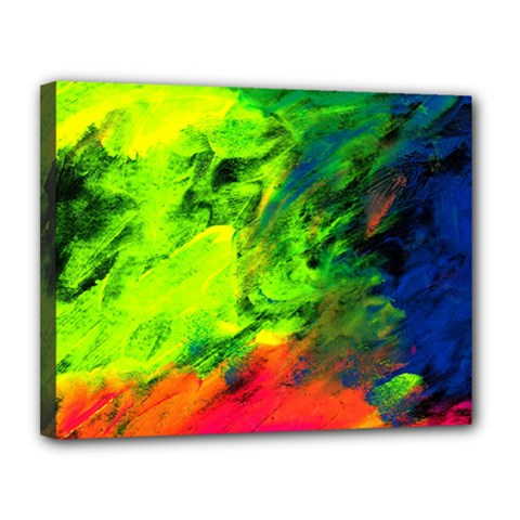 Neon Rainbow Green Pink Blue Red Painting Canvas 14  X 11  by Mariart