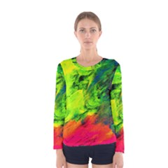 Neon Rainbow Green Pink Blue Red Painting Women s Long Sleeve Tee by Mariart