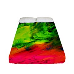 Neon Rainbow Green Pink Blue Red Painting Fitted Sheet (full/ Double Size) by Mariart