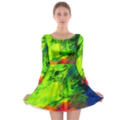 Neon Rainbow Green Pink Blue Red Painting Long Sleeve Skater Dress by Mariart