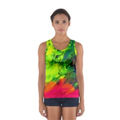 Neon Rainbow Green Pink Blue Red Painting Sport Tank Top