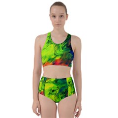 Neon Rainbow Green Pink Blue Red Painting Racer Back Bikini Set by Mariart
