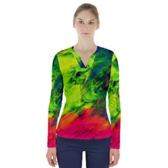 Neon Rainbow Green Pink Blue Red Painting V-neck Long Sleeve Top by Mariart