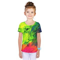 Neon Rainbow Green Pink Blue Red Painting Kids  One Piece Tee