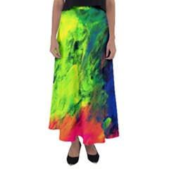 Neon Rainbow Green Pink Blue Red Painting Flared Maxi Skirt by Mariart