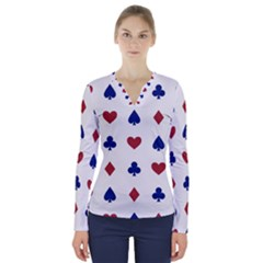 Playing Cards Hearts Diamonds V Neck Long Sleeve Top by Mariart