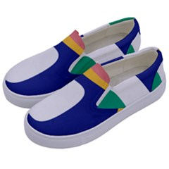 Rainbow Pink Yellow Bluw Green Rainbow Kids  Canvas Slip Ons by Mariart