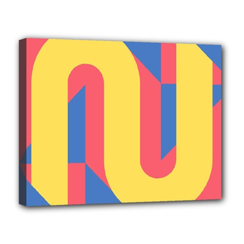 Rainbow Sign Yellow Red Blue Retro Canvas 14  X 11  by Mariart
