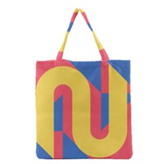 Rainbow Sign Yellow Red Blue Retro Grocery Tote Bag by Mariart