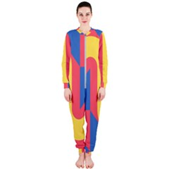 Rainbow Sign Yellow Red Blue Retro Onepiece Jumpsuit (ladies)