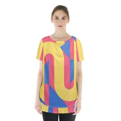 Rainbow Sign Yellow Red Blue Retro Skirt Hem Sports Top