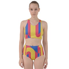 Rainbow Sign Yellow Red Blue Retro Racer Back Bikini Set by Mariart