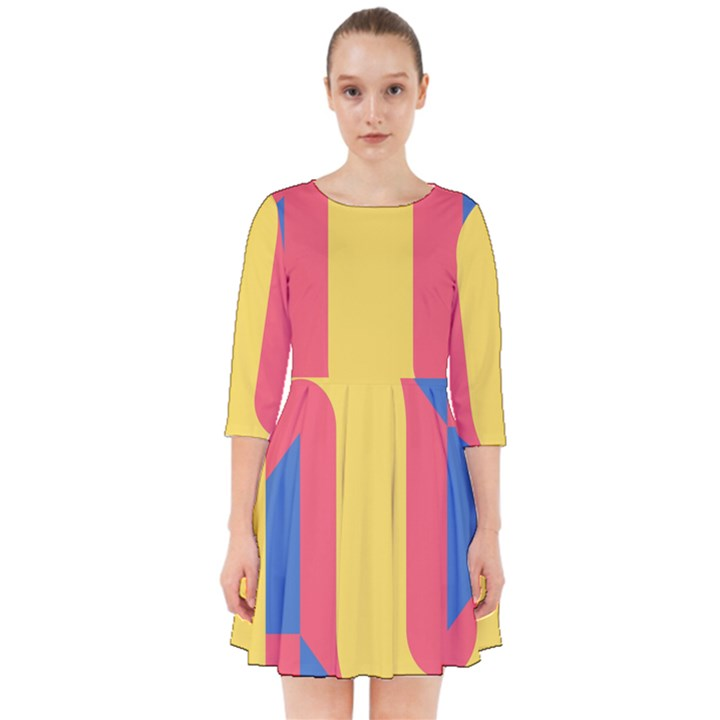 Rainbow Sign Yellow Red Blue Retro Smock Dress