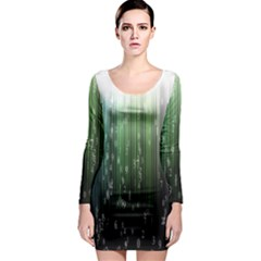 Numerical Animation Random Stripes Rainbow Space Long Sleeve Bodycon Dress