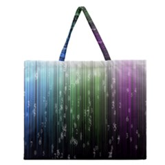 Numerical Animation Random Stripes Rainbow Space Zipper Large Tote Bag by Mariart