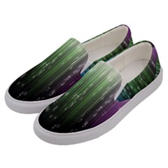 Numerical Animation Random Stripes Rainbow Space Men s Canvas Slip Ons by Mariart