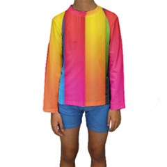 Rainbow Stripes Vertical Lines Colorful Blue Pink Orange Green Kids  Long Sleeve Swimwear by Mariart