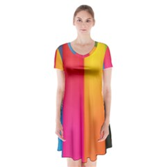 Rainbow Stripes Vertical Lines Colorful Blue Pink Orange Green Short Sleeve V Neck Flare Dress by Mariart