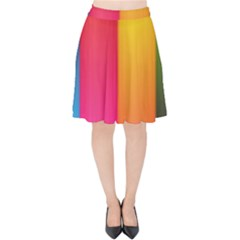 Rainbow Stripes Vertical Lines Colorful Blue Pink Orange Green Velvet High Waist Skirt by Mariart