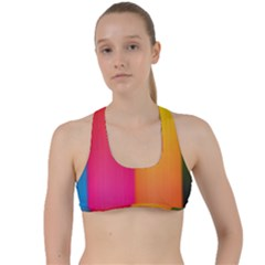 Rainbow Stripes Vertical Lines Colorful Blue Pink Orange Green Criss Cross Racerback Sports Bra by Mariart