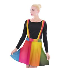 Rainbow Stripes Vertical Lines Colorful Blue Pink Orange Green Suspender Skater Skirt by Mariart