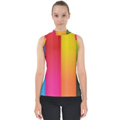Rainbow Stripes Vertical Lines Colorful Blue Pink Orange Green Shell Top