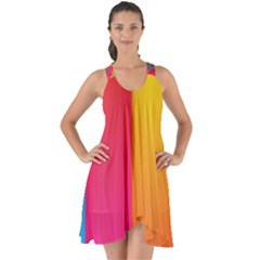Rainbow Stripes Vertical Lines Colorful Blue Pink Orange Green Show Some Back Chiffon Dress