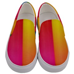 Rainbow Stripes Vertical Lines Colorful Blue Pink Orange Green Men s Canvas Slip Ons