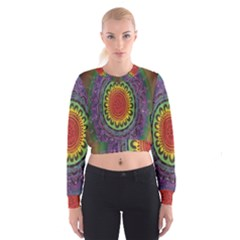 Rainbow Mandala Circle Cropped Sweatshirt by Mariart