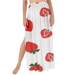 Red Fruit Strawberry Pattern Maxi Chiffon Tie Up Sarong